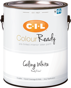Can of CIL ColourReady white ceiling paint