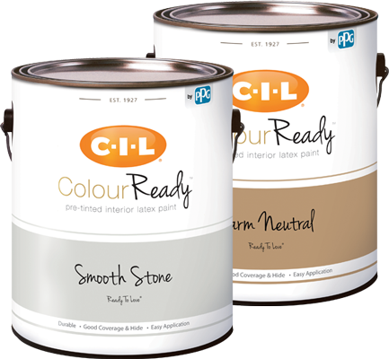 Cans of CIL ColourReady pre-tinted interior paint