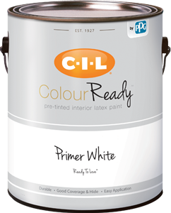 Can of CIL ColourReady drywall primer and sealer