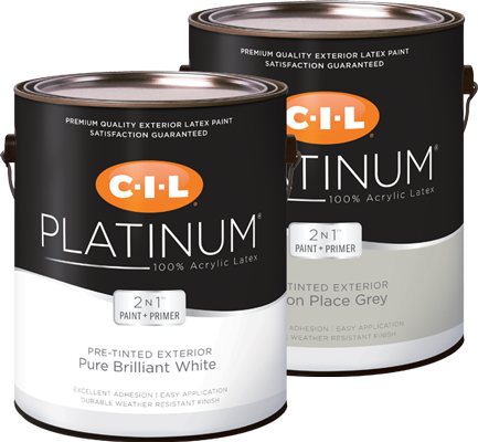 Cans of CIL Platinum pre-tinted exterior paint and primer in one
