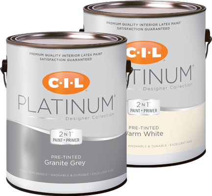 Cans of CIL Platinum Designer Collection pre-tinted interior paint and primer in one