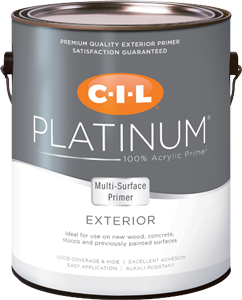 Can of CIL Platinum exterior white multi-surface primer