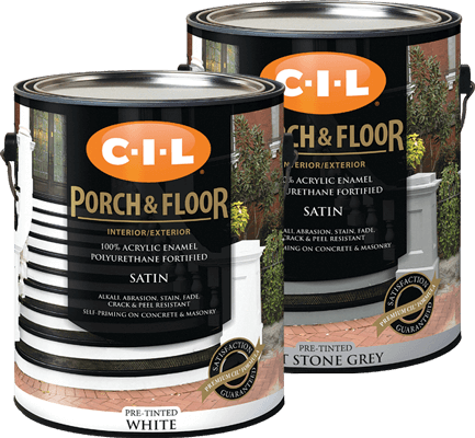 Cans of CIL pre-tinted interior exterior porch and floor paint enamel